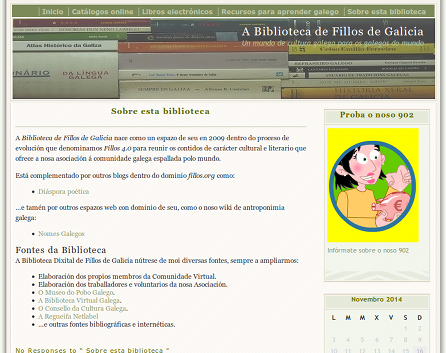 Captura do blog da Biblioteca de Fillos